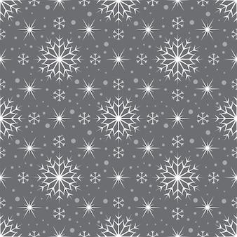 Padrão sem emenda com flocos de neve brancos e estrelas em fundo cinza. decoração tradicional festiva de inverno para ano novo, natal, feriados e design. ornamento de linha simples