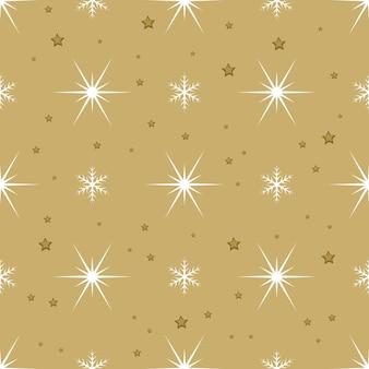 Padrão sem emenda com flocos de neve brancos e estrelas sobre fundo dourado. decoração tradicional festiva de inverno para ano novo, natal, feriados e design. ornamento de linha simples