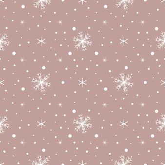 Padrão sem emenda com flocos de neve brancos e pontos no fundo rosa. decoração tradicional festiva de inverno para ano novo, natal, feriados e design. ornamento de linha simples