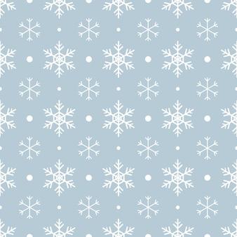 Padrão sem emenda com flocos de neve brancos e pontos sobre fundo azul. decoração tradicional festiva de inverno para ano novo, natal, feriados e design. ornamento de linha simples