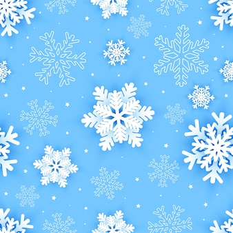 Padrão sem emenda com flocos de neve de papel