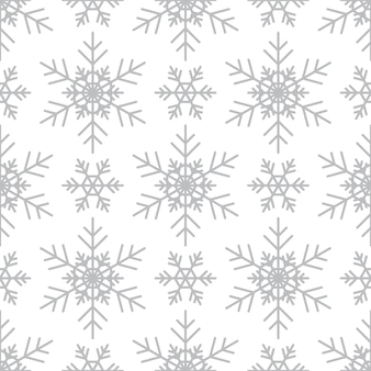 Padrão sem emenda com flocos de neve de prata sobre fundo branco. decoração tradicional festiva de inverno para ano novo, natal, feriados e design. ornamento de flocos de neve de repetição de linha simples