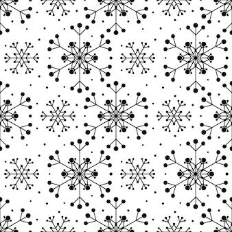 Padrão sem emenda com flocos de neve pretos sobre fundo branco. decoração tradicional festiva de inverno para ano novo, natal, feriados e design. ornamento de flocos de neve de repetição de linha simples