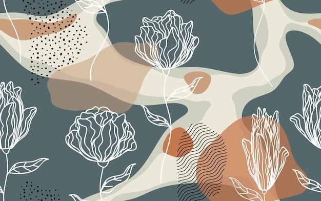 Padrão sem emenda com flores abstratas e deixar