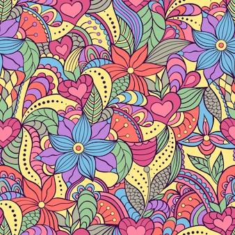 Padrão sem emenda com flores abstratas