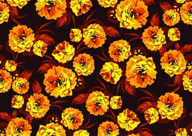Padrão sem emenda com flores amarelas do jardim
