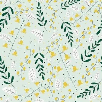 Padrão sem emenda com flores amarelas e folhas verdes