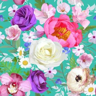 Padrão sem emenda com flores claras