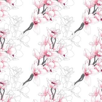 Padrão sem emenda com flores da orquídea