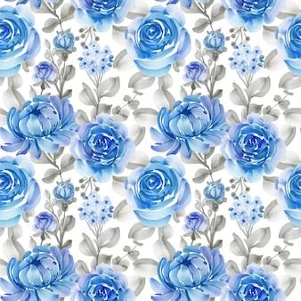 Padrão sem emenda com flores da primavera azuis e folhas