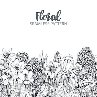 Padrão sem emenda com flores da primavera de mão desenhada e plantas no estilo de desenho. monocromático Vetor Premium