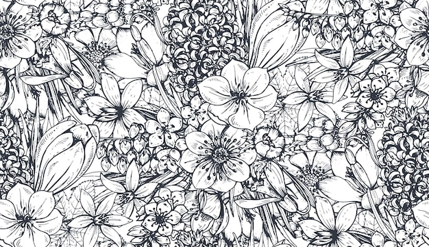 Padrão sem emenda com flores da primavera de mão desenhada e plantas no estilo de desenho. monocromático