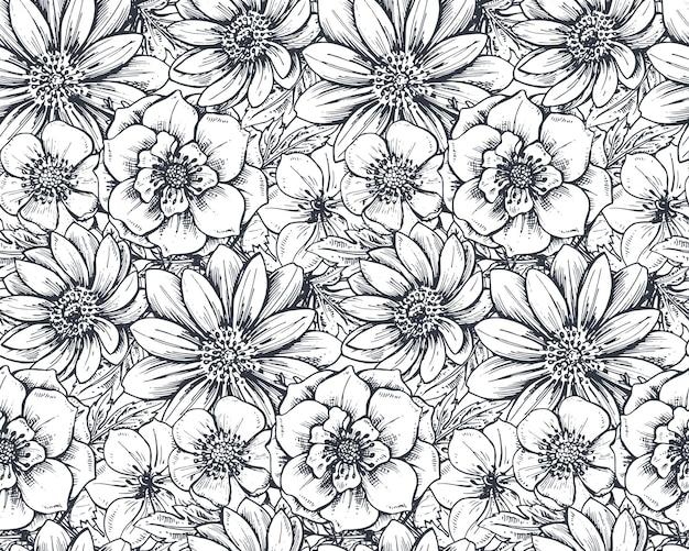 Padrão sem emenda com flores da primavera de mão desenhada e plantas no estilo de desenho.