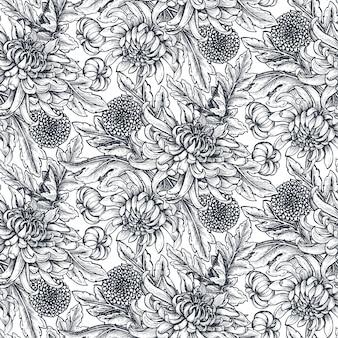 Padrão sem emenda com flores de crisântemo desenhada à mão