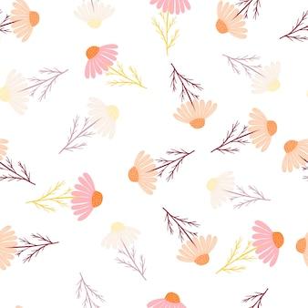 Padrão sem emenda com flores de doodle de camomila botânica
