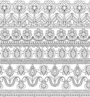 Padrão sem emenda com flores de doodle desenhado à mão em ornamento de listra