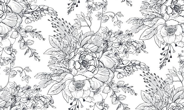 Padrão sem emenda com flores de mão desenhada e plantas no estilo de desenho.