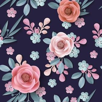 Padrão sem emenda com flores de papel abstratas fundo floral vetor de modelo de corte de papel