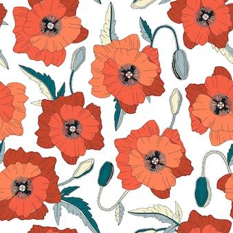 Padrão sem emenda com flores de papoula
