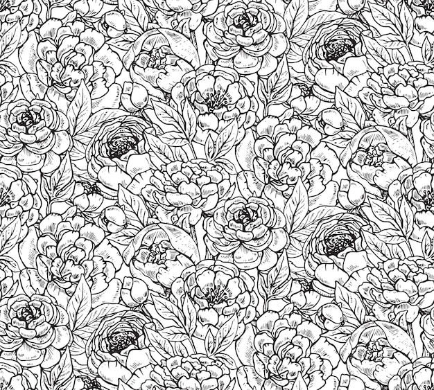 Padrão sem emenda com flores de peônia desenhada de mão. fundo infinito preto e branco. Vetor Premium