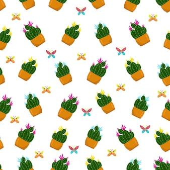 Padrão sem emenda com flores diferentes em potsfloral primavera padrão mão desenhar vetor