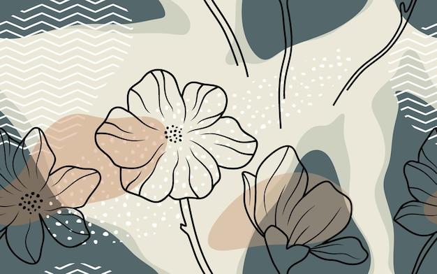 Padrão sem emenda com flores e folhas abstratas.