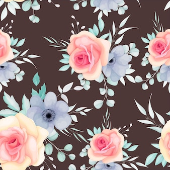 Padrão sem emenda com flores e folhas da primavera