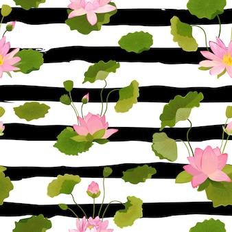 Padrão sem emenda com flores e folhas de lótus, fundo floral tropical retrô para impressão de moda, papel de parede de decoração de aniversário. ilustração vetorial