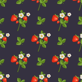 Padrão sem emenda com flores e folhas de morangos