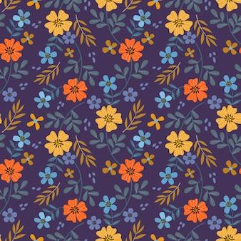 Padrão sem emenda com flores e folhas