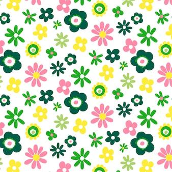 Padrão sem emenda com flores em branco