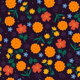 Padrão sem emenda com flores em roxo