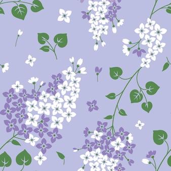 Padrão sem emenda com flores lilás