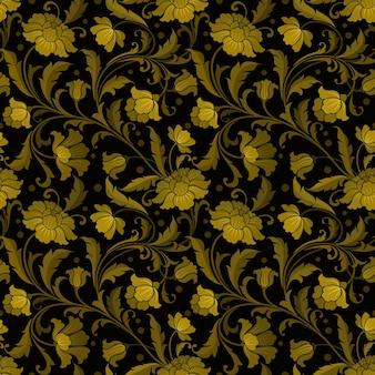 Padrão sem emenda com flores ornamentais estilizadas em ouro e preto retrô.
