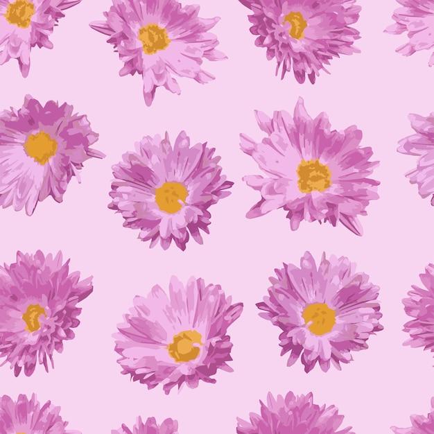 Padrão sem emenda com flores rosa realistas em um fundo rosa