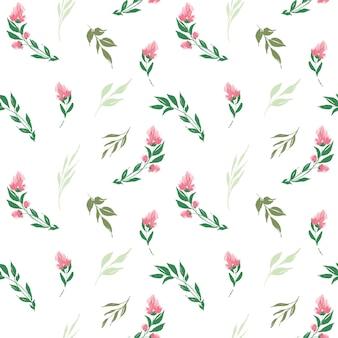 Padrão sem emenda com flores rosas abstratas e folhas