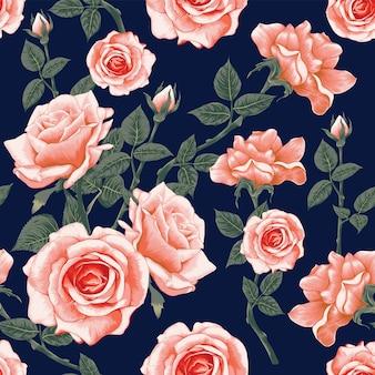 Padrão sem emenda com flores rosas