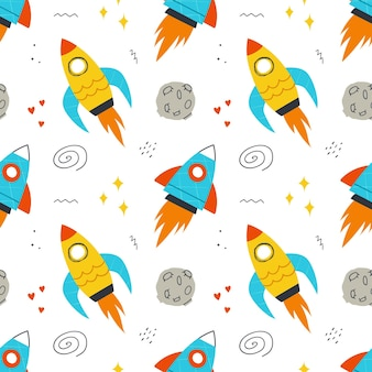 Padrão sem emenda com foguetes desenhados à mão, elementos do espaço, estrelas. plano de fundo para crianças design, têxteis, vestuário, papel de parede.