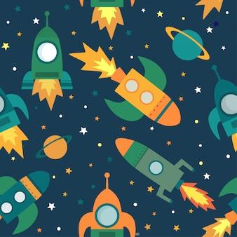 Padrão sem emenda com foguetes, planetas, estrelas no espaço.