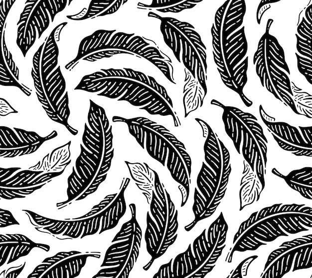 Padrão sem emenda com folha de bananeira preta