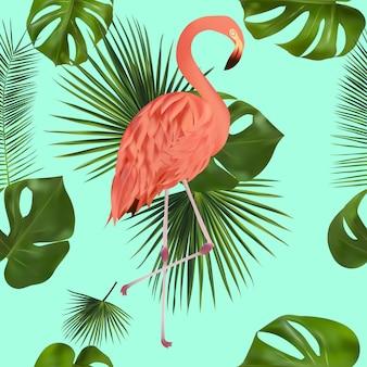 Padrão sem emenda com folha tropical e flamingo