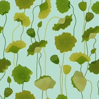 Padrão sem emenda com folhas de lótus, fundo floral retrô, impressão de moda, papel de parede de decoração de aniversário. ilustração vetorial