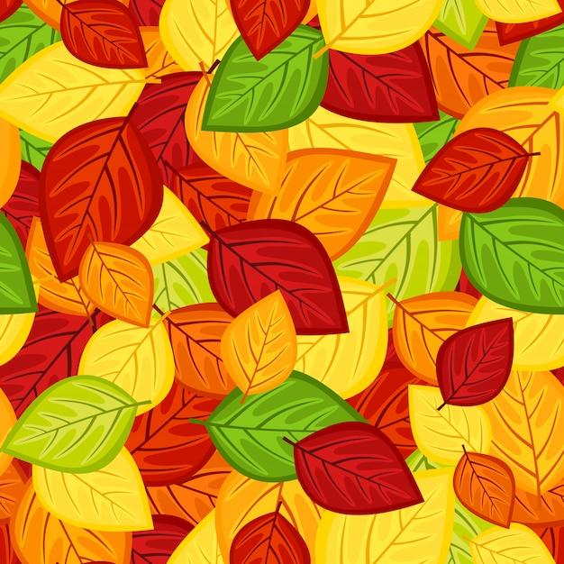 Padrão sem emenda com folhas de outono de várias cores.