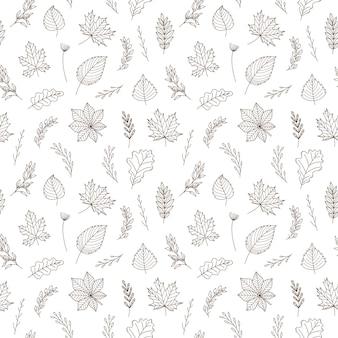 Padrão sem emenda com folhas de outono e galhos. vetor preto e branco com elementos de desenho de contorno linear