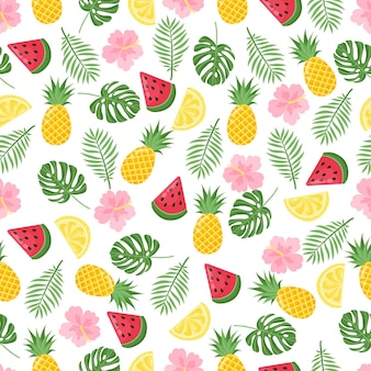 Padrão sem emenda com folhas de palmeira tropical e bananas. ilustração vetorial.