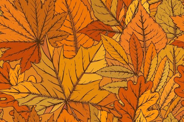 Padrão sem emenda com folhas desenhadas à mão altamente detalhadas. floresta de outono