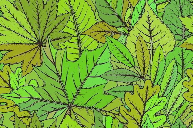 Padrão sem emenda com folhas desenhadas à mão altamente detalhadas. floresta de verão