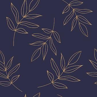 Padrão sem emenda com folhas douradas sobre fundo azul escuro
