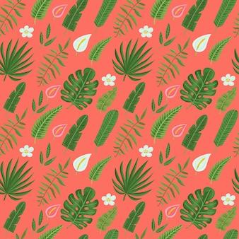 Padrão sem emenda com folhas e flores tropicais