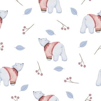Padrão sem emenda com folhas e ursos em aquarela de inverno